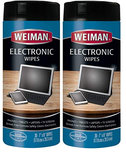 Weiman Electronic Cleaner Wipes - Non Toxic Safely Clean Your Laptop, Computer, TV, Screen All Electronic Equipment - Electronic Wipes - 30 Count (2 Pack)