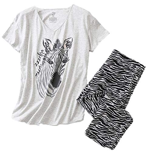 (Women's Pajama Sets Capri Pants with Short Tops Cotton Sleepwear Ladies Sleep Sets SY296-Zebra-L)