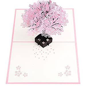Sanwooden Greeting Card Sent to Bless Romantic Pop Up Cherry Tree Holiday Paper Greeting Card Festival Birthday Gift Grateful to Have You.