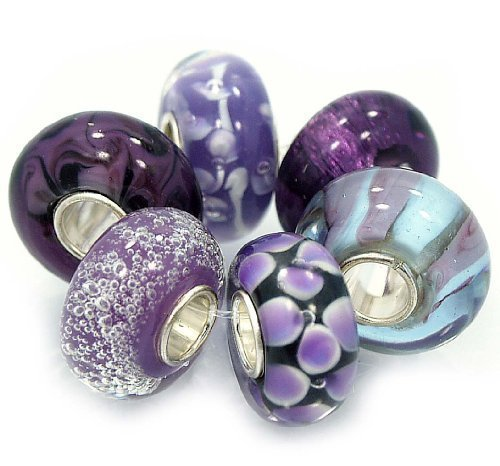 6 Bead Set- Shades of Honey Purple