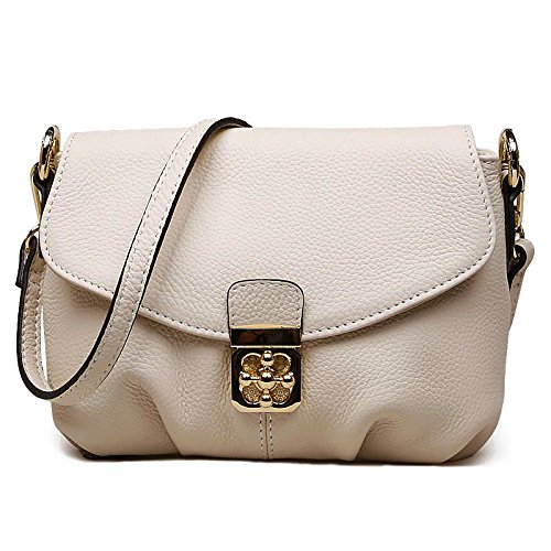 Hereby Kuer Women's Cow Leather Shoulder Bag Cross Body Handbag Satchel Purse (beige)
