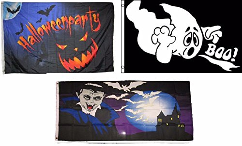 ALBATROS 3 ft x 5 ft Happy Halloween 3 Pack Flag Set #96 Combo Banner Grommets for Home and Parades, Official Party, All Weather Indoors -