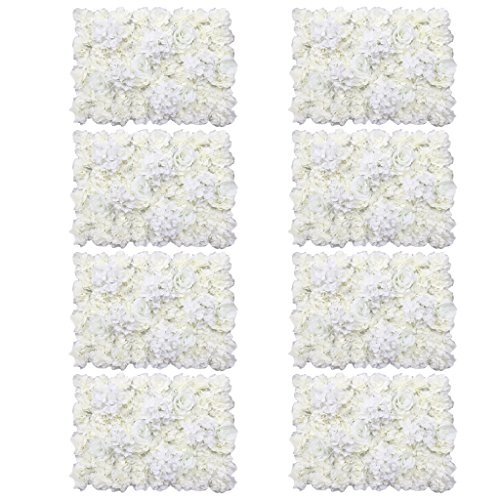 MonkeyJack 8 Pieces Artificial Flowers Wall Panels Wedding Home Hanging Decor Cream by MonkeyJack