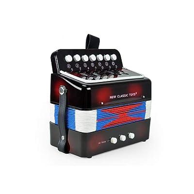 LINGLING-Piano Acordeón for niños Principiante Instrumento Musical Mini Juguetes Rompecabezas de Aprendizaje temprano Regalos for niños y niñas (Color : Negro): Hogar