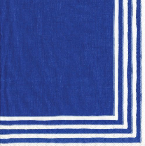- Entertaining with Caspari Stripe Border Paper Luncheon Napkins, Blue, Pack of 20