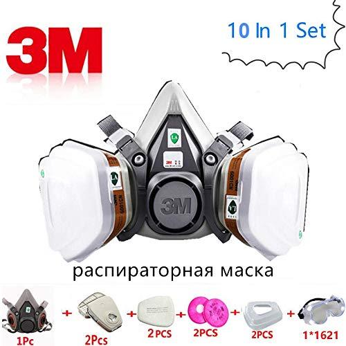 (TOSHUN Suit 3M 6200 Poison Gas Mask Dual Carbon Filter Respirator gas mask)
