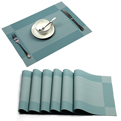 Placemat,U'Artlines Crossweave Blue Woven Vinyl Non-slip Insulation Placemat Washable Table Mats Set of 6 - Placemats For Dining Table Blue