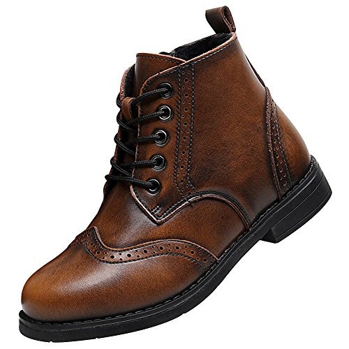 Brogues Ankle High Dress Leather Winter Leather Boots SN031011(Brown,us10) (Brogue Shoe Boot)