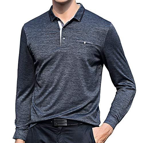 ポロシャツ メンズ 長袖 ゴルフウェア 男性 ストレッチ 二重衿 軽量 吸汗通気 3色展開