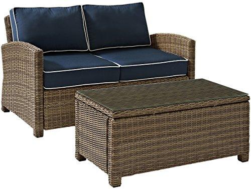 Crosley Furniture Bradenton 2-Piece Outdoor Wicker Conversation Set with Cushions – Navy