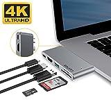 EQUIPD USB C Hub For MacBook Pro 13'' & 15'' 2016/2017, Aluminum Type C to 4K HDMI Combo Hub Adapter, Charging port, Thunderbolt 3 port, MicroSD/SDHC/SDXC Card Reader, USB 3.0 Port, USB-C port - Grey