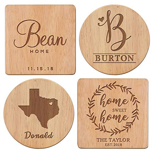 4 Style to Choose From - Personalized Coasters, Wood Coaster Set, Housewarming Gift, Monogram coasters, Custom Coasters - Home Sweet Home Coasters with Name & Date/ANY STATE With Heart Over City]()