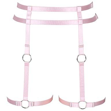 BBOHSS Arnés de Cuerpo Rosa para Mujer con cinturón de lencería ...