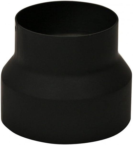 Kamino–Flam – Acero adaptador de reducción para tubo de chimenea, Tubo reducción estufa, Chimenea reducción – resistente a altas temperaturas – Negro, Ø 120/130 mm