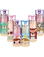 KOYEE Mini Drawing Colored Pencils with Sharpener Pack of 6, Cute Cartoon Coloring Pencil Portable Pencils for Kid Adults Artists Writing Sketching,12 Count in Tube
