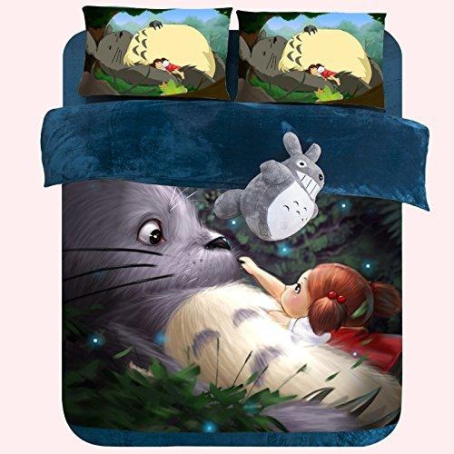 Todaybuy 3d My Neighbor Totoro Velvet Bedding Set,3d Totoro Duvet Cover Set 4 Pcs,kids Short Plush Coral Velvet Bedding Set Twin Queen King Size (Queen, 1) by Todaybuy