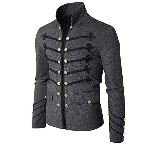 Men Gothic Vintage Jacket Double Breasted Formal Gothic Victorian Coat Costume (S, Gray)