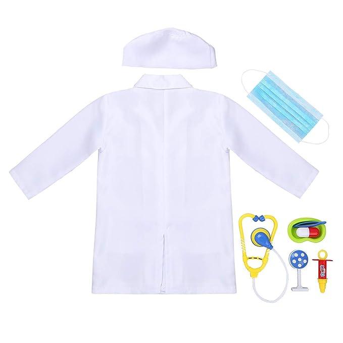 iEFiEL Uniforme de Trabajo para Unisex Niños Bata Blanca Abrigo de Laboratorio Farmacia Disfraz de Doctor Cirujano Enfermera Chaqueta para Halloween: ...