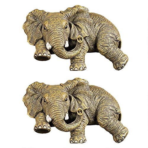 Design Toscano Ernie the Elephant Shelf Sitting Statue, 5 Inch, Set of Two, Polyresin, Full Color
