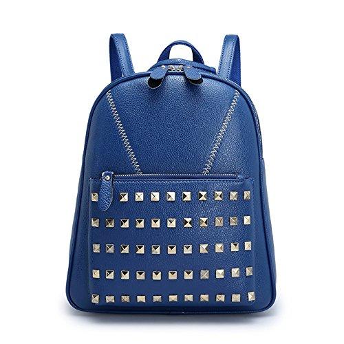 Mefly Double Shoulder Bag Female Knapsack Korea Edition Tide College Wind Jane Pu-Haut Navy Blue