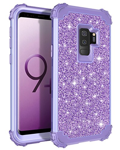 Lontect Compatible Galaxy S9 Plus Case Luxury Glitter Sparkle Bling Heavy Duty Hybrid Sturdy Armor High Impact Shockproof Protective Cover Case for Samsung Galaxy S9 Plus - Shiny Purple