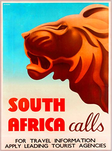 (A SLICE IN TIME South Africa Calls Lion African Vintage Travel Home Collectible Wall Decor Advertisement Poster Print. 10 x 13.5 inches.)