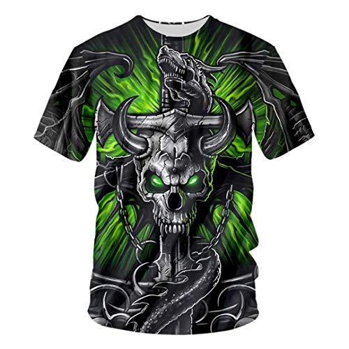 Men 3D Print Green Eye Skull Header T Shirt Casual Tops Tees O-Neck Summer Short Sleeve Boys T-Shirt Harajuku Green Eye Skull 7XL