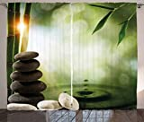 Ambesonne Tropical Curtains, Abstract Eco Background with Bamboo Tree Water Splash Bubbles and Spa Stones, Living Room Bedroom Window Drapes 2 Panel Set, 108W X 108L Inches, Green Grey White Review