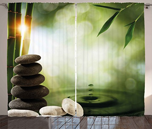 Ambesonne Tropical Curtains, Abstract Eco Background with Bamboo Tree Water Splash Bubbles and Spa Stones, Living Room Bedroom Window Drapes 2 Panel Set, 108W X 108L Inches, Green Grey White