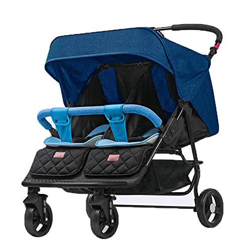 Twins and Twin Strollers- Tandem Double Pushchair from Birth- Reversible Seat Convertible to Carrycot- Lightweight with Convertible Bassinet Stroller,Blue