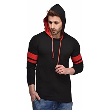fa1ad59a65f4 kay Dee Solid Men s hooded Black T-shirt  Amazon.in  Clothing   Accessories