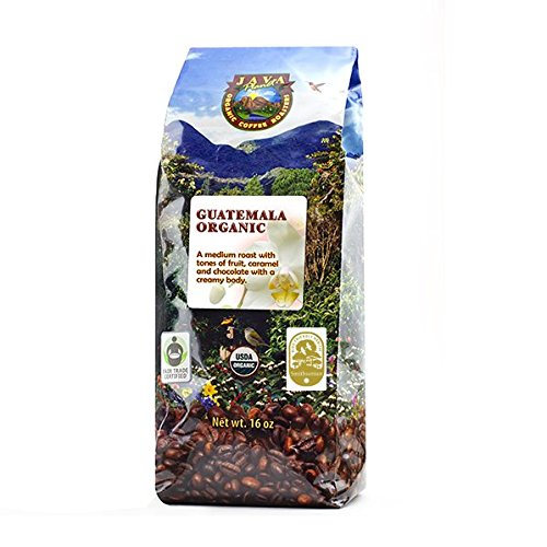 Java Planet - Guatemalan USDA Gourment Organic Coffee Beans, Medium Roast, Shade Grown, Bird Friendly, Rainforest Alliance, Arabica Gourmet Specialty Grade A - packaged in 1 LB bag