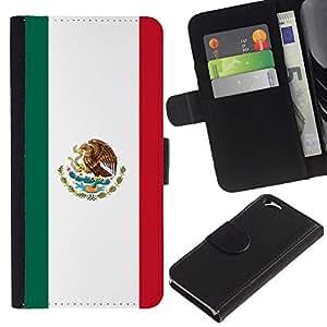 EJOY---La carpeta del tirón la caja de cuero de alta calidad de la PU Caso protector / Apple Iphone 6 / --Bandera mexicana