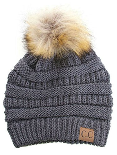 Soft Stretch Cable Knit Ribbed Faux Fur Pom Pom Beanie Hat (Dark ()