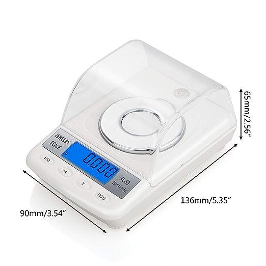 Runrain - Báscula digital de alta precisión de 0,001 g, 50 g, en polvo, LCD, escala electrónica de quilates: Amazon.es: Salud y cuidado personal