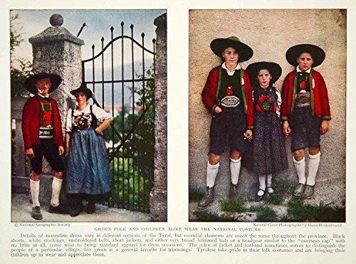 1932 Color Print Tyrol Italy Traditional Costume Fashion Historical Image NGM9 - Original Color (Images Of National Costumes)