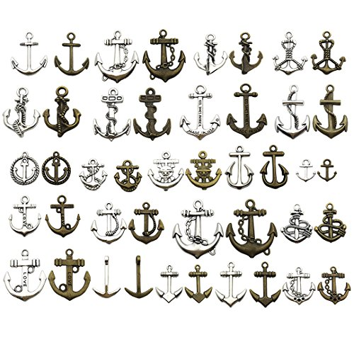 100 Gram (Approx 49pcs) Assorted Antique Steampunk Anchor Charms Pendant Collection--Antique Silver Antique Bronze, Jewelry Making for Necklace and Bracelet (Mix Anchor HM53)