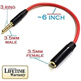 Josi Minea 3.5mm Red Headphone Extender Adapter 3 Ring Jack for Apple iPhone 6 6 Plus 5S 5C 5 4S - iPad Air Mini - Samsung Galaxy S6 S5 S4 S3 - Note 4 3 Nexus 4 - HTC One - Nokia Lumia & most other Smartphones & Tablets