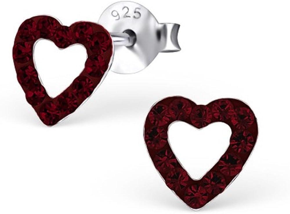 Unbespielt pendientes de joyas de plata de los pernos prisioneros del corazón 925 para las mujeres o los niños de 6 x 6 mm con cristales de color burdeos incluyendo la caja de joyería