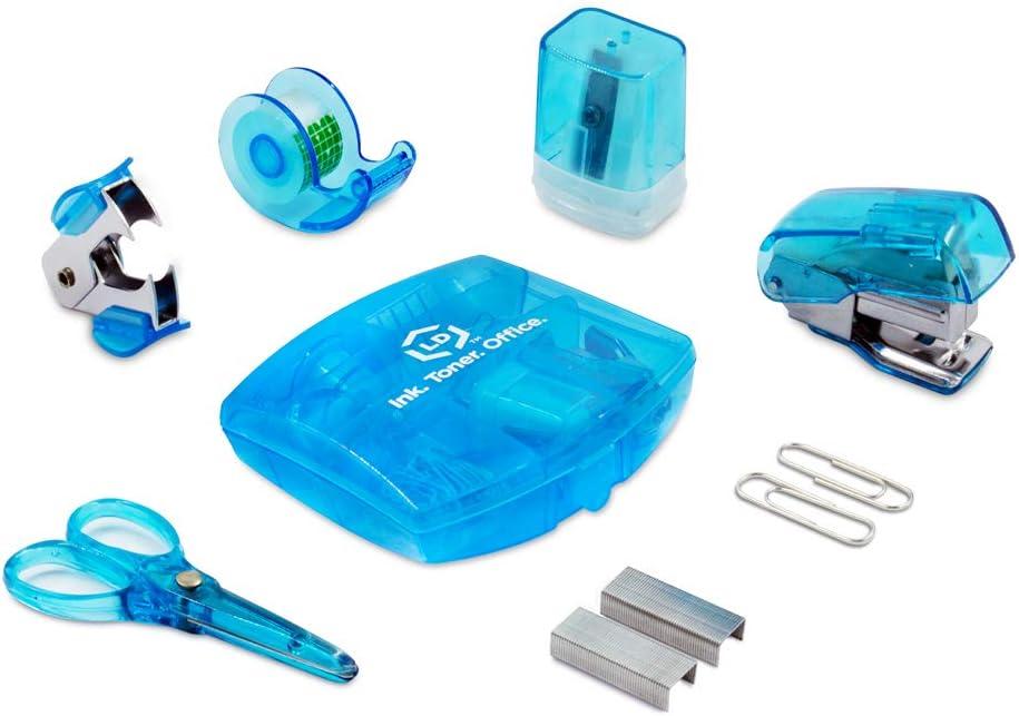 LD Blue Mini Office Supply Kit – Portable Case with Scissors, Paper Clips, Tape Dispenser, Pencil Sharpener, Stapler & Staple Remover
