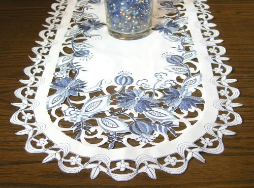Embroidered Delft Blue Onion Flower Table Runner Approx 14 W by 54 L
