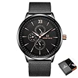 NAVIFORCE Mens Stainless Steel Band Watches Ultra Thin Waterproof Casual Wristwatch