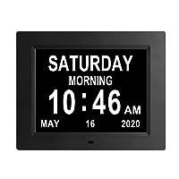 【2020 Newest Version】 8.7 INCH Digital Day Calendar Clock 8 Alarm Reminders Auto-Dimming...