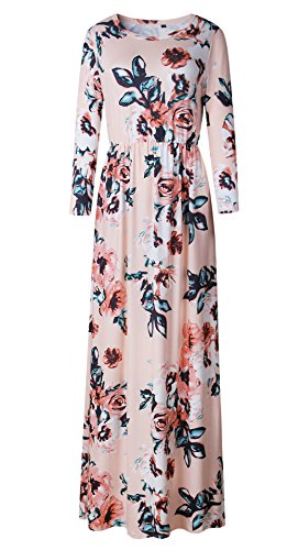 - LiMiCao Women Autumn Fashion Printed Long Dress Three Quarter Sleeve Retro Vintage Flower Casual Floor Length Maxi Dress (XL, Pink)