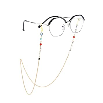 Non-transparent Yienate Boho Eyeglass Chains with Colorful Beads Anti-skid Glasses Chain Eyeglass Accessories Eyewear Retainer Eyeglass Strap Holder Sunglass Retainer Strap for Women and Girls