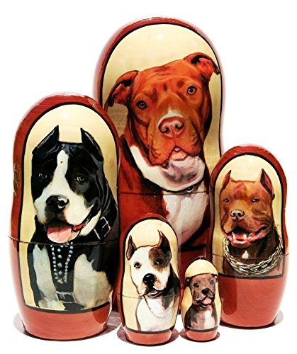 Pit Bull Terrier 5-Piece Dog Portrait Nesting Doll