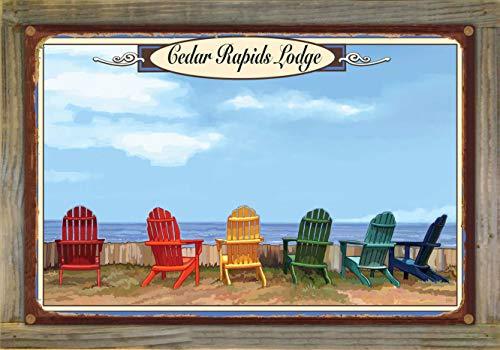 Northwest Art Mall Cedar Rapids Lodge, Minnesota Adirondack Chairs Rustic Metal Print on Reclaimed Barn Wood by Joanne Kollman (12