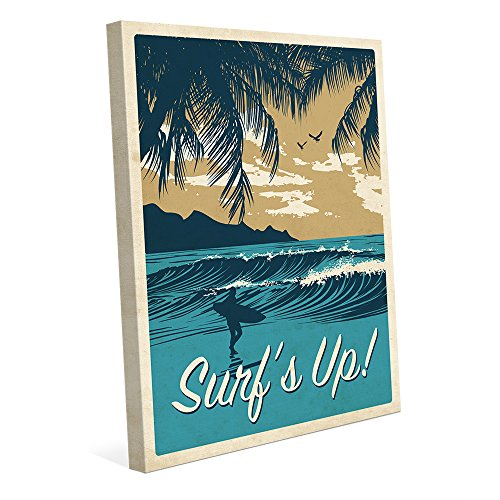 Surf's Up Warm Gold: Retro Vintage 1950s Vacation Travel Poster with Surfer on Beach Nautical for Beach House Wall Art Print 51etuxXoq6L