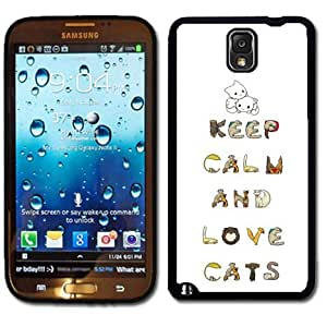 meilinF000Samsung Galaxy Note 3 Black Rubber Silicone Case - Keep Calm and Love Cats Very Cute cat loversmeilinF000
