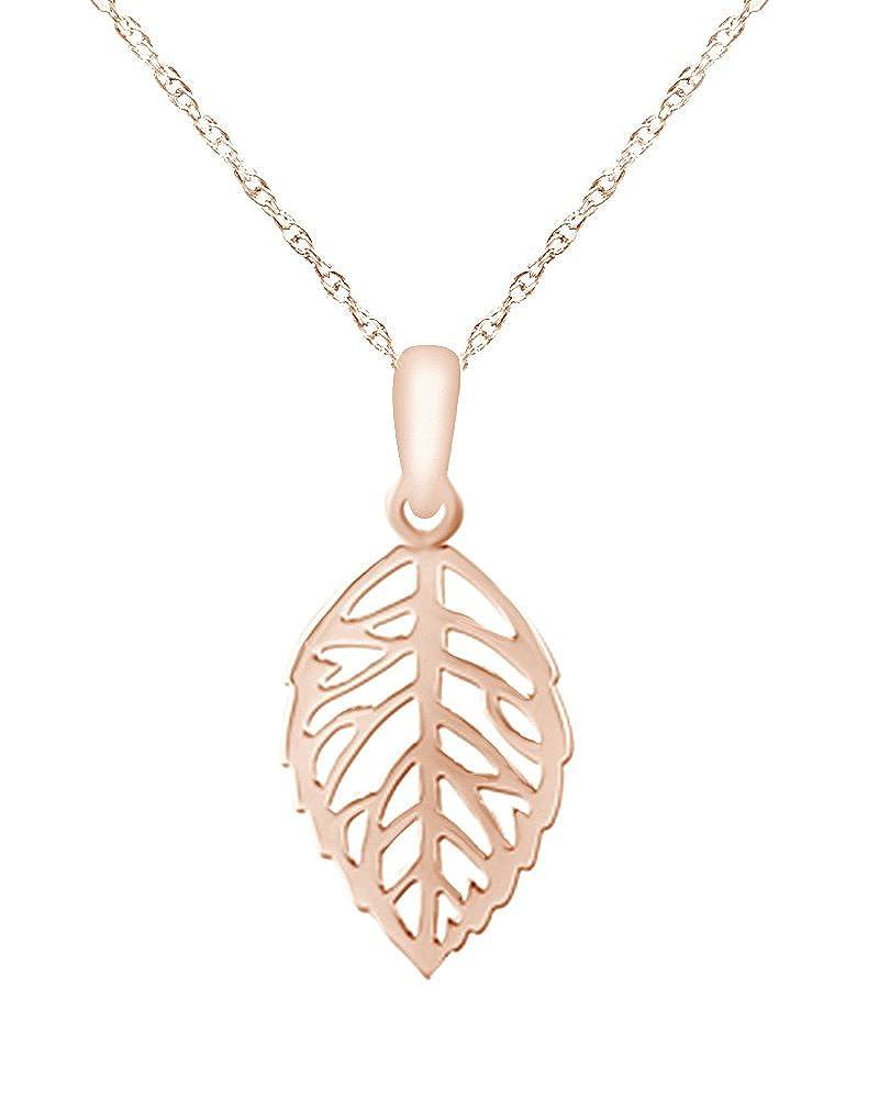 Wishrocks 14k Gold Over Sterling Silver Leaf Pendant Necklace